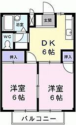 愛知県豊田市中町中前の賃貸アパートの間取り