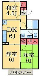 千葉県千葉市緑区あすみが丘7の賃貸アパートの間取り