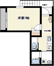 クレアール駒井[201号室]の間取り