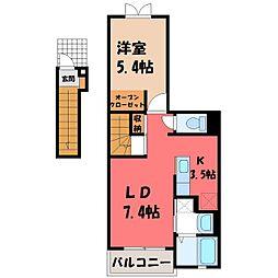栃木県小山市神鳥谷6の賃貸アパートの間取り