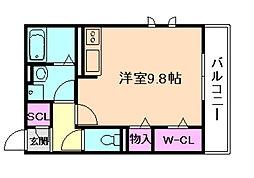 阪急宝塚本線 岡町駅 徒歩3分の賃貸アパート 2階ワンルームの間取り
