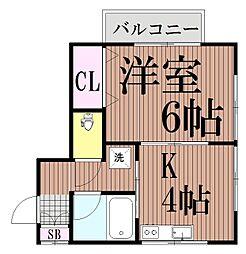 東京都品川区旗の台1丁目の賃貸アパートの間取り