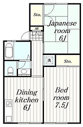 神奈川県大和市鶴間2丁目の賃貸アパートの間取り