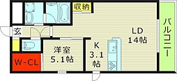 Osaka Metro今里筋線 新森古市駅 徒歩3分の賃貸マンション 1階1LDKの間取り