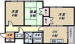 大阪府堺市西区下田町の賃貸アパートの間取り