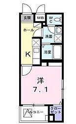 西武多摩川線 白糸台駅 徒歩3分の賃貸マンション 1階1Kの間取り
