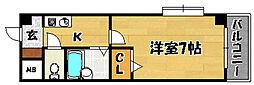 阪急京都本線 上新庄駅 徒歩12分の賃貸マンション 6階1Kの間取り