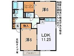 コーポ上野III[1階]の間取り