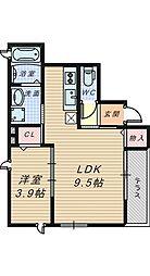 大阪府堺市北区北花田町1丁の賃貸アパートの間取り