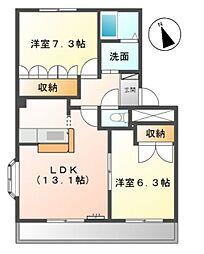 愛知県豊田市上郷町2丁目の賃貸アパートの間取り