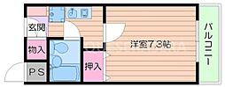 大阪府箕面市稲2丁目の賃貸マンションの間取り