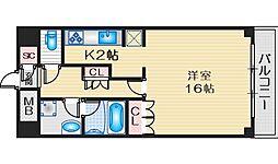 桃山台アルビラ 2階1Kの間取り