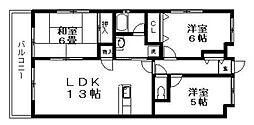 神奈川県横浜市都筑区牛久保東1丁目の賃貸マンションの間取り