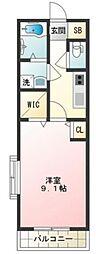 OHSHINKAWA 3階1Kの間取り