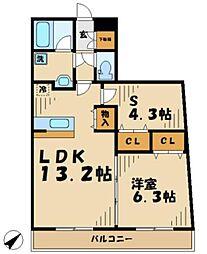 プラキドゥム[5階]の間取り
