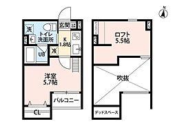 南海高野線 北野田駅 徒歩10分の賃貸アパート 1階1Kの間取り