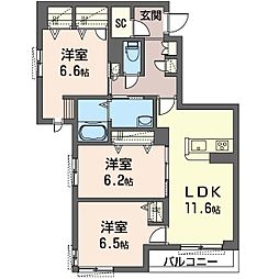 座間市栗原中央1丁目マンション (仮) 3階3LDKの間取り