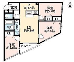 ロワール市ヶ尾[2階]の間取り