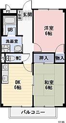 静岡県牧之原市仁田の賃貸アパートの間取り