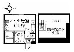 東急目黒線 日吉駅 徒歩11分の賃貸アパート 2階ワンルームの間取り