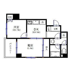 JR山手線 田町駅 徒歩10分の賃貸マンション 6階2DKの間取り