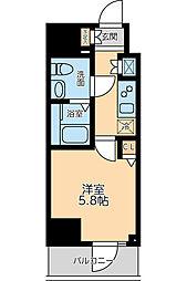 京急本線 大森海岸駅 徒歩8分の賃貸マンション 5階1Kの間取り