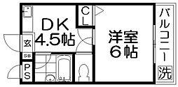 ロータリーマンション香里北之町[1階]の間取り