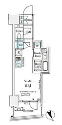 パークナードフィット南青山Vista 8階ワンルームの間取り