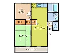 コート倉B[2階]の間取り
