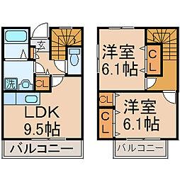 [テラスハウス] 東京都東大和市清水4丁目 の賃貸【/】の間取り