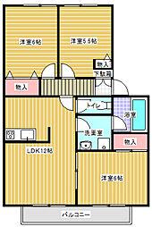 神奈川県川崎市多摩区菅仙谷3丁目の賃貸アパートの間取り