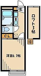JR川越線 武蔵高萩駅 徒歩13分の賃貸アパート 2階1Kの間取り