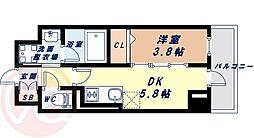 Osaka Metro長堀鶴見緑地線 西長堀駅 徒歩3分の賃貸マンション 6階1DKの間取り