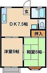 JR埼京線 与野本町駅 バス10分 白鍬電建住宅下車 徒歩3分の賃貸アパート 2階2DKの間取り