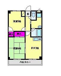 JR京浜東北・根岸線 大宮駅 バス8分 三橋1丁目下車 徒歩2分の賃貸マンション 2階2DKの間取り
