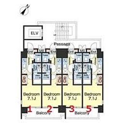 つくばエクスプレス 三郷中央駅 徒歩3分の賃貸マンション 6階1Kの間取り