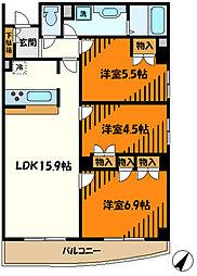 東急田園都市線 宮崎台駅 徒歩8分の賃貸マンション 4階3LDKの間取り