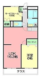 神奈川県平塚市撫子原の賃貸マンションの間取り