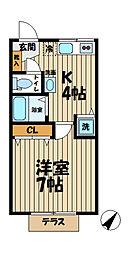 Raffine Kasama[102号室]の間取り