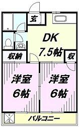 埼玉県所沢市中新井1丁目の賃貸アパートの間取り