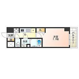 阪神なんば線 九条駅 徒歩4分の賃貸マンション 6階1Kの間取り