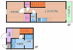 Osaka Metro谷町線 四天王寺前夕陽ヶ丘駅 徒歩6分の賃貸アパート 2階1LDKの間取り