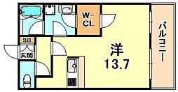 パレス東洋神戸6号館 5階ワンルームの間取り