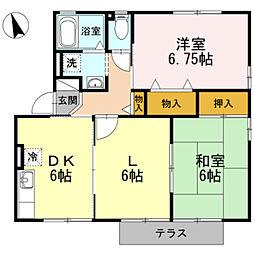 愛知県蒲郡市清田町夏目の賃貸アパートの間取り