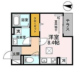近鉄南大阪線 針中野駅 徒歩2分の賃貸アパート 1階ワンルームの間取り