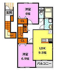 茨城県筑西市中舘の賃貸アパートの間取り