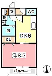 メゾンナガヤマ B[105号室]の間取り