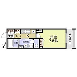 JR京浜東北・根岸線 鶴見駅 徒歩17分の賃貸マンション 2階1Kの間取り