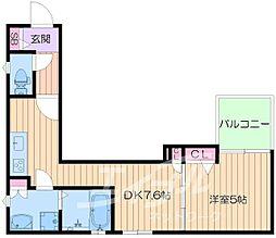 クリエオーレ東中浜 2階1DKの間取り
