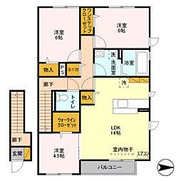 新潟県柏崎市扇町の賃貸アパートの間取り